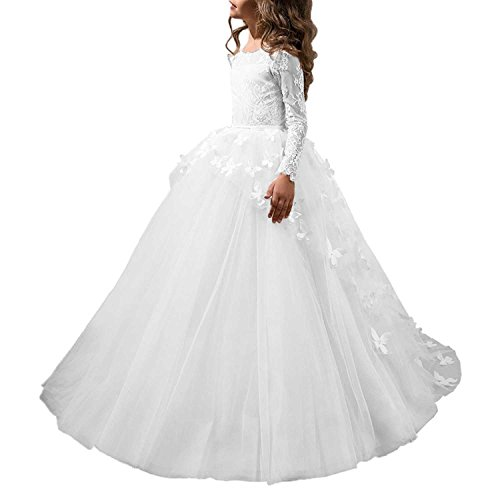 Blumenmädchenkleid Kommunionkleid Hochzeit Tüll Kinderkleid Partykleid mit Lange Ärmel FD0201 Weiß 10 Jahre (Schlichte Weiße Halloween-kleid)