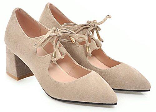 Aisun Femme Confort Pointue Basse Chaussures de Travail Escarpins Beige