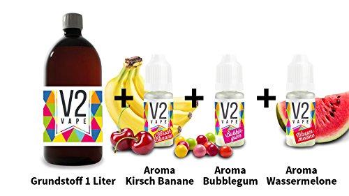 V2 Vape E-Liquid Grundstoff Base Basis 1000ml Pharmaqualität reinst 0mg + V2 Vape Bubblegum Aroma + V2 Vape Wassermelone Aroma + V2 Vape Kirsch Banane Aroma