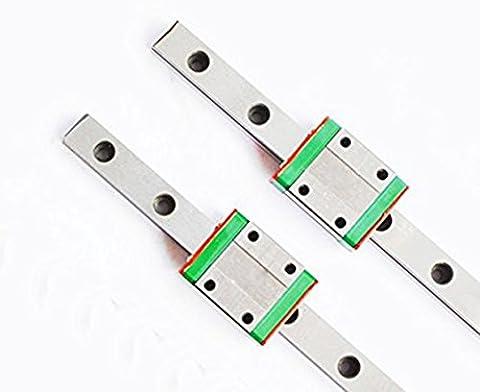 TEN-HIGH CNC Parts MR15 MGN15 Miniature Linear Guide Rail Way Slide 800mm x 2+MGN15C Slider Miniature Linear Motion Guide Way x 2
