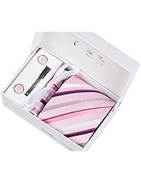 Larges rayures Blanches et rose Ensemble Cravate d'homme , Mouchoir , épingle et boutons de manchette coffret cadeau