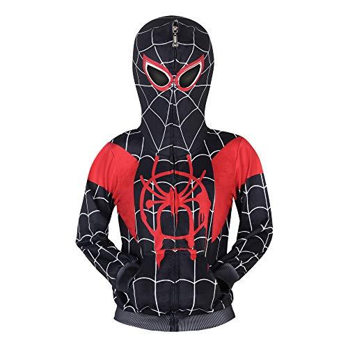 Jungen Spiderman Hoodie Cosplay Kostüm Reißverschluss Pullover Trainingsanzug Mantel Hose Geschenke für Kinder, Gr. 7-8 Jahre(140),Schwarzer Spiderman Hoodie 01