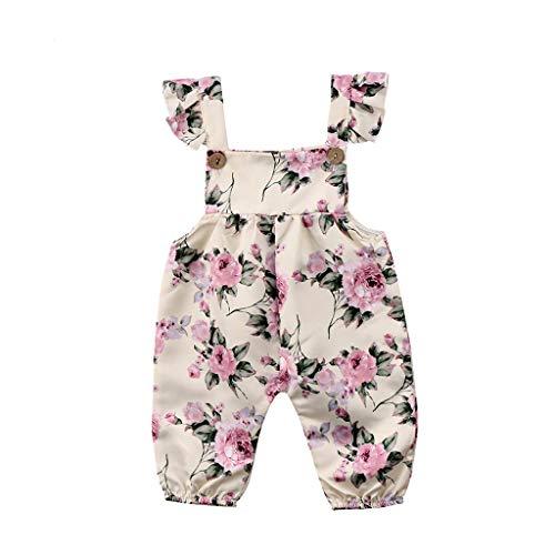 TICOOK Baby-Strampler für Mädchen, ärmellos, Blumenmuster Gr. 90 cm(12-18 Monate), weiß (Tier Zeug)