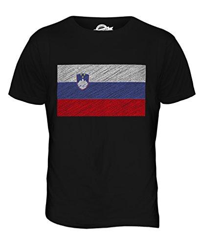 CandyMix Slowenien Kritzelte Flagge Herren T Shirt Schwarz