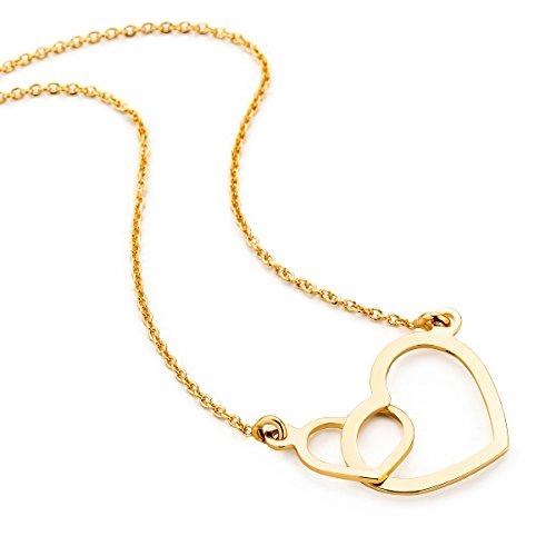 tte Damen Gelbgold 9 Karat / 375 Gold Kette mit Herz 45 cm Halskette in Italien hergestellt ()