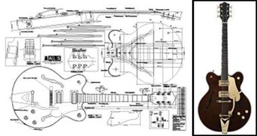 Plan de Gretsch Country Classic Archtop guitarra eléctrica–escala completa impresión