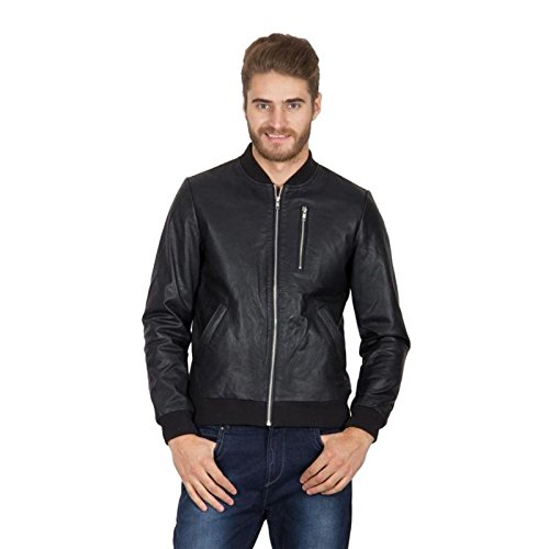 Hypernation Black Color Long Sleeves Pure Leather Jackets For Men