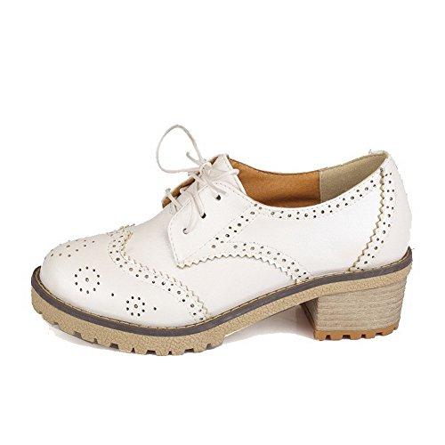 VogueZone009 Femme Matière Souple Rond à Talon Bas Lacet Couleur Unie Chaussures Légeres Blanc