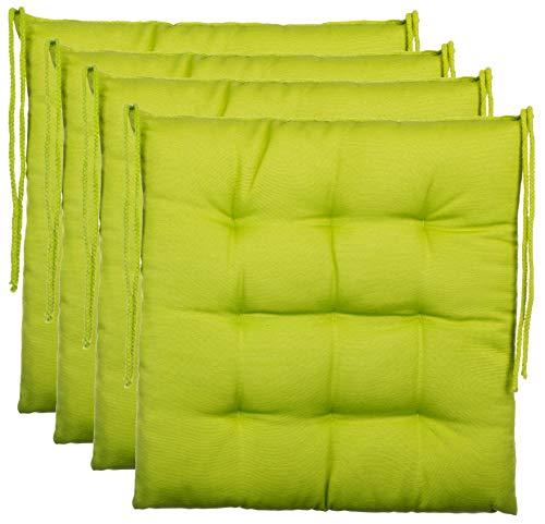 Cuscino decorativo cuscino per sedia giardino cuscino - 9 - trapuntatura in diversi motivi, poliestere, verde, 4er-paket