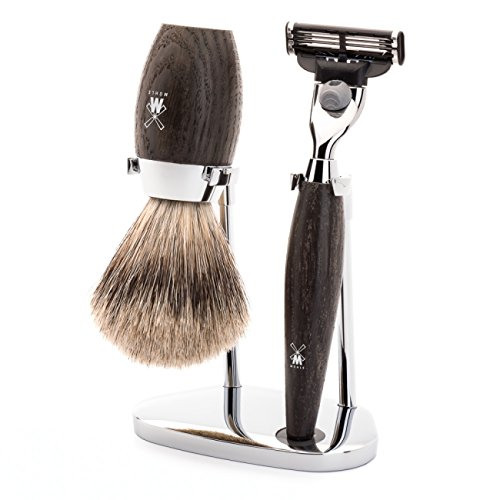 뮐레 클래식 면도기 세트 MÜHLE - Rasierset - KOSMO Series - Fine Badger Hair - Gillette Mach3 - Moor oak