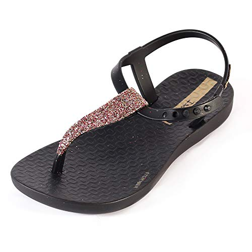 Ipanema Kids Charm Glitter 21 Plastic Slip On Sandal Black-Black-1/2 Size 1/2