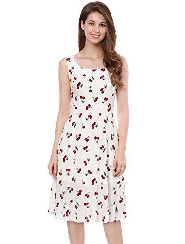 Allegra K Women's Cherry Print Sleeveless Midi Flare 1970s 1980s Vintage Dress L White