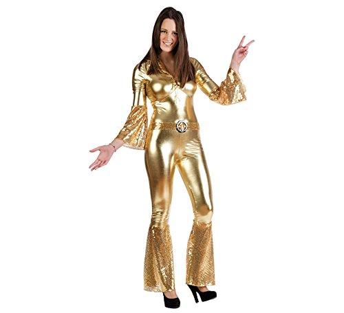 Disco Lady - costume da donna per travestimento - tuta intera in stile anni '70 - carnevale e feste a tema - oro - S