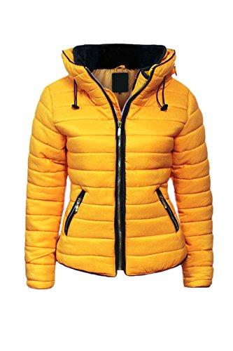Malaika - Chaqueta para señora, acolchada, con capucha, cuello de piel, tallas grandes disponibles...