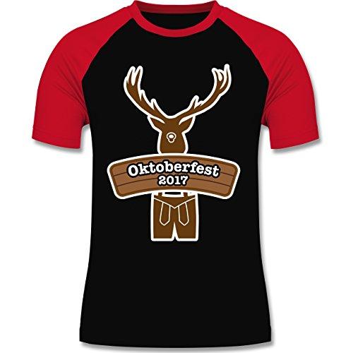 Oktoberfest Herren - Hirsch in Tracht Oktoberfest 2017 - zweifarbiges Baseballshirt für Männer Schwarz/Rot