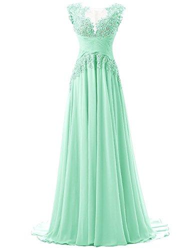 Beonddress Damen Langes Abschlussball Kleid Mit Applikation Chiffon BrautbrautjunferKleid(Minze,50) (Illusion-mieder-kleid)