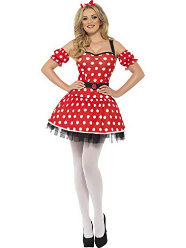 Halloweenia - Damen Frauen Fräulein Maus Kostüm mit Kleid, Manschetten und Mäuseohren, perfekt für Karneval, Fasching und Fastnacht, S, Rot