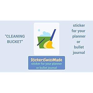 AUFKLEBER FÜR KALENDER    Putzeimer    Haushaltsaufgaben    kleine farbige Icons   für Kalender oder Bullet Journals