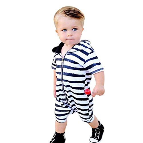 Igemy Kleinkind Säugling Baby Boys Kleider gestreift Hooded Outfits Jumpsuit Spielanzug (80, Weiß)