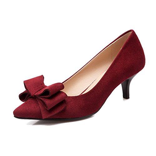 AllhqFashion Femme Pointu à Talon Correct Dépolissement Tire Chaussures Légeres Rouge Vineux