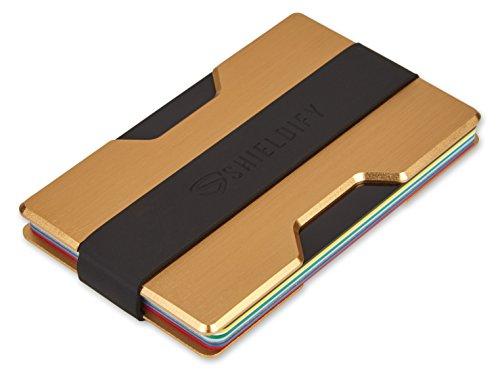 SHIELDIFY ® Kreditkartenetui mit RFID Blocker aus hochwertigem Aluminium für bis zu 12 Karten, Kompakter Kreditkartenhalter, Portemonnaie mit Geldklammer, Kartenetui für Kreditkarten (Gold)