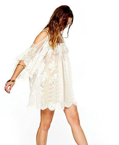 Gesticktes Langes Kleid (Elecenty Damen Partykleid Spitzekleid Hippie Boho Sommerkleid Häkeln Kleider Frauen Mode Gestickt Kurzarm Knielang Kleid Minikleid Rundhals Strandkleid Kleidung (XXL, Weiß))
