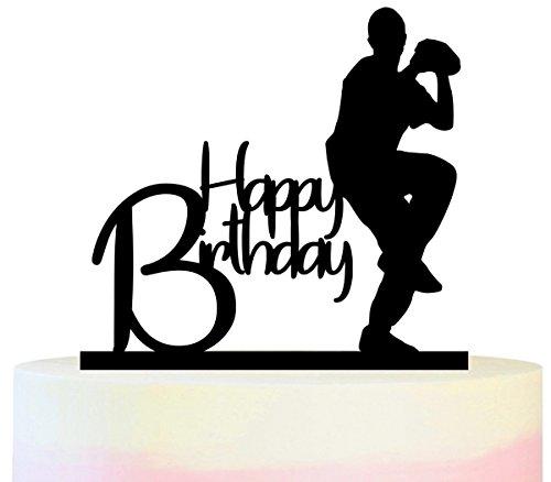 Innovedesire Happy Birthday Baseball Kuchenaufsätze Hochzeit Geburtsta Acryl Dekor Cupcake Kuchen Topper Stand für Kuchen Party Dekoration 11 Stück