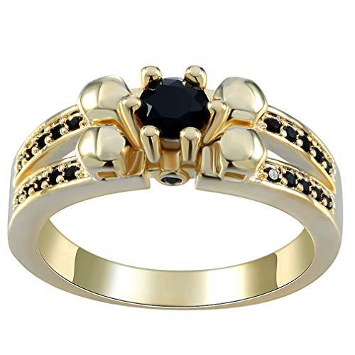 COMVIP Rose Gold Plated Damen Frauen Verlobungsring Wickelring Motivring Schwarz 9