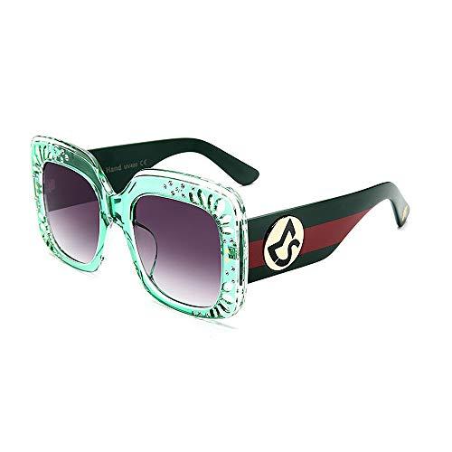 Sonnenbrillen Mode Damen Sonnenbrillen Farbe Streifen Übergroßen Damen Sonnenbrillen mit Kristall UV-Schutz Platz für Frauen Persönlichkeit PC Objektiv Big Driving Sonnenbrille ( Farbe : Grün )