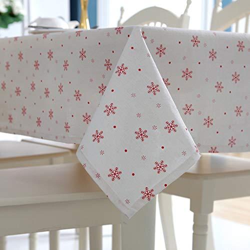 Nappe en polyester, nappe rectangulaire, flocon de neige simple, lin et coton, nappe de thé | (Couleur : Blanc, taille : 140X180CM)