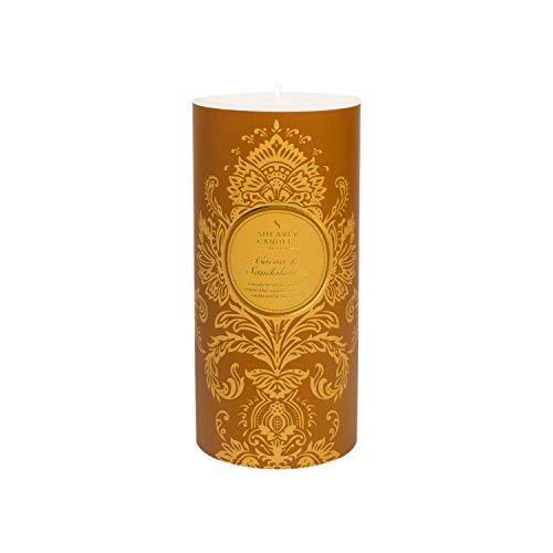 Shearer Candles Stumpenkerze, Kakao- und Sandelholzduft, Baumwolldocht, Duft & ätherische Öle, Ombre, Gold, Weiß, groß -