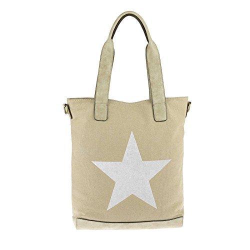 140968a79f837 OBC sportliche Damen Stern Tasche DIN-A4 Henkeltasche Handtasche in 2  Varianten Canvas Baumwolle CrossOver