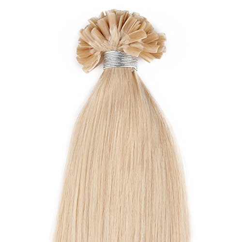 Beauty7 - 50 STK Echthaarstraehnen Remy Echthaar Haarverlaengerung von U-tips 45cm 0,5g Bonding Echthaar Extensions Straehnen 18 Zoll Mitteles Goldblond #24