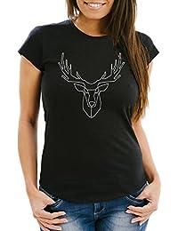 8af25093c9b7 Neverless Damen T-Shirt Hirsch Polygon Geweih Geometrisch Formen Slim Fit