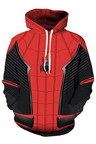 RedJade Herren Damen Kapuzenjacke Pullover mit Kapuze Sweatjacke Hoodie Superheld Spider-Man: Far from Home