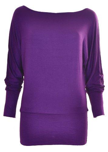 Da donna A maniche lunghe a pipistrello Top Taglie dalla 8–18 Purple