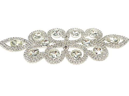 1 Stück 89 Aufnäher Applikation Braut und Formale Kleidung Schöne Klare Kristalle Diamant Nieten Silber Ornament Trimming Shop