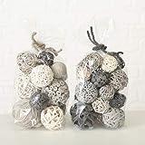 Home Collection Maison Ameublement Décoration Parfums Intérieur Set de 2 Pots pourris Blanc Gris Nature