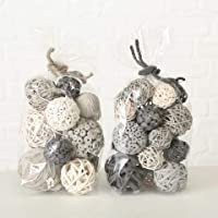 Home Collection Conjunto de 2 Bolsas de Popurri Surtidos con Bolas Decorativas en Colores Gris y Blancos Naturales