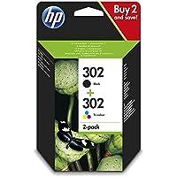 HP 302 Combo Pack X4D37AE Cartucce Originali Nero e Tricromia per Stampanti HP a Getto di Inchiostro, Compatibili con Stampanti HP DeskJet 1110, 2130, 3630, HP OfficeJet 3830 e 4650, HP ENVY 4520