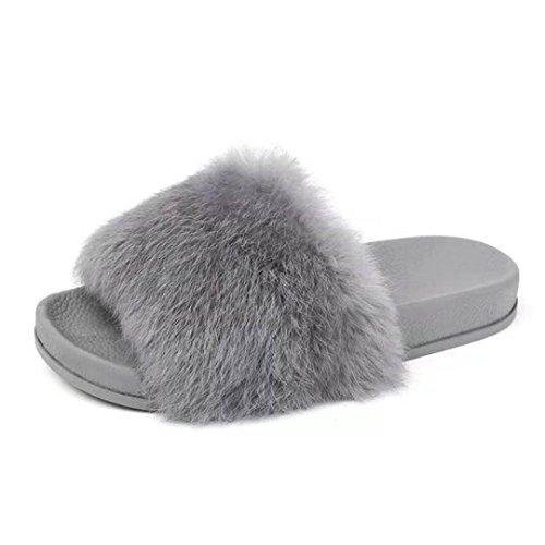 Chaussons Winter Plush Slippers, Amlaiworld Plat Antidérapant Soft Chaussons moelleux en fausse fourrure Sandale flip flop
