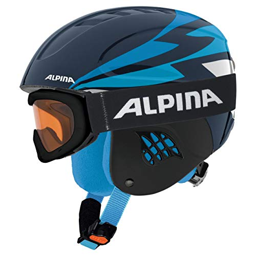 Alpina Sports Unisex Jugend Carat Set Skihelm, Nightblue, 48-52