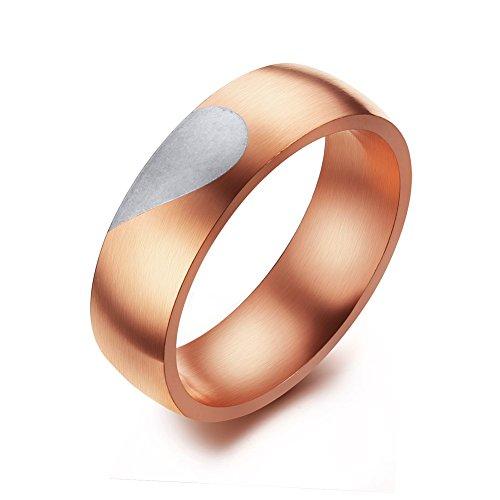 Vnox Acciaio inossidabile delle donne Broken Heart corrispondenza di amore delle coppie anelli a fascia per aggancio di cerimonia nuziale promessa in oro rosa,Dimensione 11.5