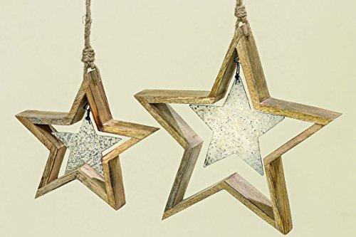 1 x Hänger Kasy Stern Holz/Metall natur Länge 21 cm, Weihnachtsdeko, Star, Stern