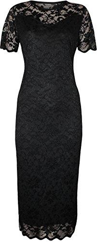 WearAll - Übergröße Damen Spitze Gefüttert Kurzarm Figurbetontes Midi-Kleid - Schwarz - 48 (Kleid Stretch-spitze Schwarzen Und Langen)