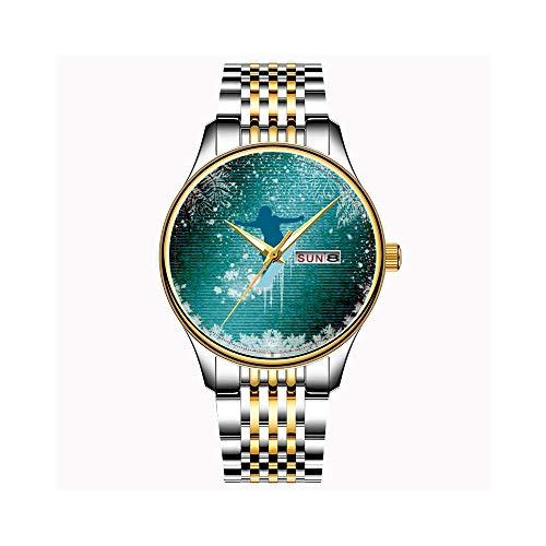 Uhren Herrenmode Japanisch Quarz Datum Edelstahl Armband Gold Uhr Winter, Sport, Schnee, Snowboarden, Snowboard, Spaß, Armbanduhren - Kunst Snowboard