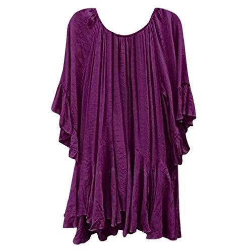 VJGOAL Damen T-Shirt, Sommer Top Damen Böhmen Rüschen Shirt Kurze Ärmel Unregelmäßiges Shirt Solid Top(Lila,56)