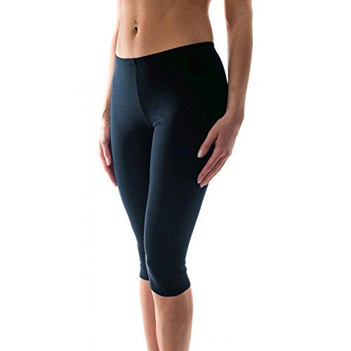Alkato Damen Leggings 3/4 Capri Blickdicht Baumwolle Stretch, Farbe: Dunkelblau, Größe: 46