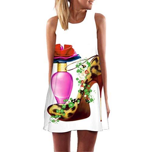 Qiusa Damenkleider Sexy Vintage Girls Druck Knielang A-Line Lose Sommer Schulterfrei Ärmellose Taschen Lässig - Lose Sommer Sleeveless Blumendruck Tank Kurzes Minikleid (Farbe : C, Größe : Medium)