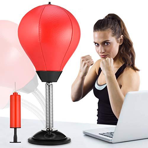 RUNACC Desktop Punching Ball Boxen Punchingball Saugnapf freistehend Reflex Stress Relief Boxing Tasche Stanz Ständer Ball mit Gratis Luftpumpe, Spielzeug für Jungen Vater Kinder Büroangestellter